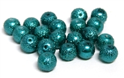 10pc Sugar Glass Pearls 8mm Teal Green