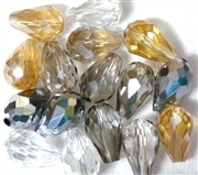 6pc vertical hole teardrop crystals Golden Shadow Clear Mix 15x10mm