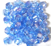 10pc Faceted Crystal Twist Rounds Sapphire AB 8mm