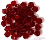 10pc Faceted Crystal Twist Rounds Siam Red  8mm
