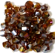 10pc Faceted Crystal Twist Rounds Smokey Topaz AB 8mm