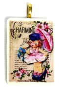 1pc 38mm Majong Pendant Charming Girl Gold Bail
