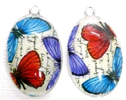 2pc 30mm Oval Vintage Charm Set Trio Butterflies