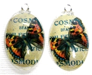 2pc 30mm Oval Vintage Charm Set Orange Blue Butterfly