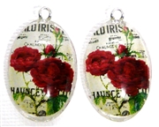 2pc 30mm Oval Vintage Charm Set Irish Rose