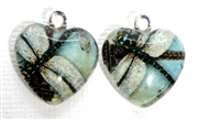2pc 18mm Glass Heart Charm Set Paris Dragonfly