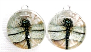 2pc 18mm Glass Round Charm Set Pink Dragonflies