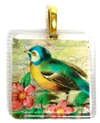 1pc 25mm Vintage Glass Pendant Square Aqua Bird Gold Bail