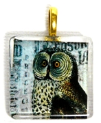 1pc 25mm Vintage Glass Pendant Square Owl Gold Bail