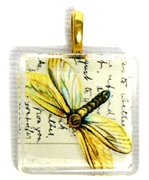 1pc 25mm Vintage Glass Pendant Yellow Butterfly Gold Bail