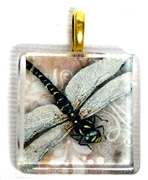 1pc 25mm Vintage Glass Pendant Pink Dragonfly Gold Bail