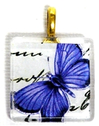 1pc 25mm Vintage Glass Pendant Purple Butterfly Gold Bail