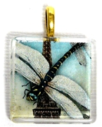 1pc 25mm Vintage Glass Pendant Paris Dragonfly Gold Bail