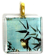 1pc 25mm Vintage Glass Pendant Blue Bird Gold Bail