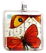 1pc 25mm Vintage Glass Pendant Red Butterflies Silver Bail