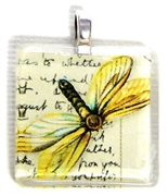 1pc 25mm Vintage Glass Pendant Yellow Butterfly Silver Bail