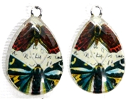 2pc 25mm Vintage Glass Teardrop Charms Butterfly Duo