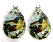 2pc 25mm Vintage Glass Teardrop Charms Teal Bird