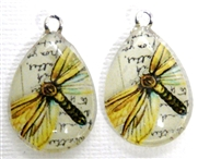 2pc 25mm Vintage Glass Teardrop Charms Yellow Butterfly