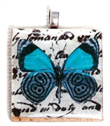 1pc 25mm Wooden Square Pendant Teal Black Butterfly Silver Bail