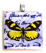 1pc 25mm Wooden Square Pendant Yellow Butterfly Silver Bail