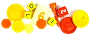 10pc assorted vintage game pieces orange + yellow