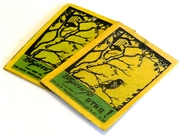 2pc vintage matchbox brass pendants yellow birds #2