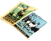 2pc vintage matchbox brass pendants teal animals #10