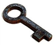 1pc woodcut Key Charm 34x15mm #5