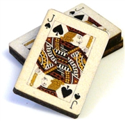 1pc woodcut playing cards jack of spades 29x20mm