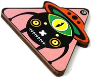 1pc woodcut pink alien triangle 46x41mm