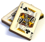 1pc woodcut playing cards king of clubs 29x20mm
