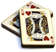 1pc woodcut playing cards king of hearts 29x20mm
