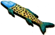 1pc woodcut spotted long fish 71x19mm