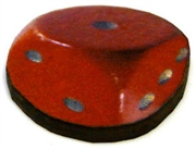 1pc woodcut dice rounded red 21mm