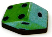 1pc woodcut dice green 20mm