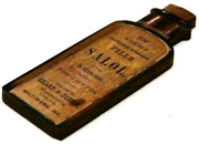 1pc woodcut medicine bottle salol wood 55x20mm