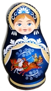 1pc Woodcut Babushka Doll Dark Blue 58x32mm