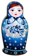1pc Woodcut Babushka Doll Blue & White 58x28mm