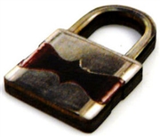 1pc woodcut burgundy silver lock 29x15mm
