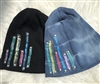 Vintage Tie Dye Beanie with Colored Stripes