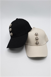 Baseball Cap with Flower Rhinestones