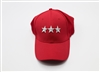 Red Baseball Cap with Stars-Closed Back