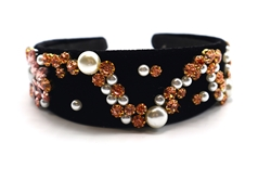 Black Velvet Pearl Bedazzled Headband