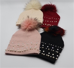 Pom-Pom Hat with Pearls and Rhinestones