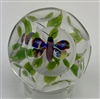 Antique Baccarat Butterfly Over a White Clematis