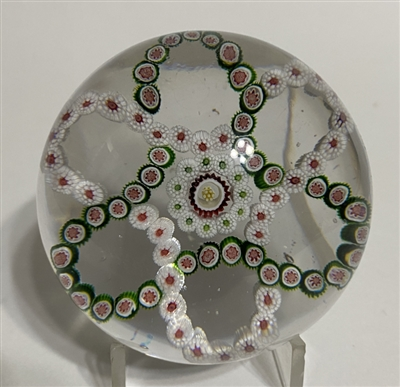Antique Baccarat Interlaced Trefoil Millefiori Paperweight