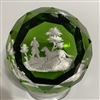 Antique Baccarat Hunter & Dog Sulphide - Green