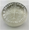 Frit paperweight - Merry Christmas & Happy New Year