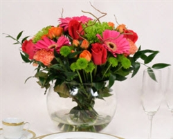 Hot Pink-Green-Orange Centerpieces